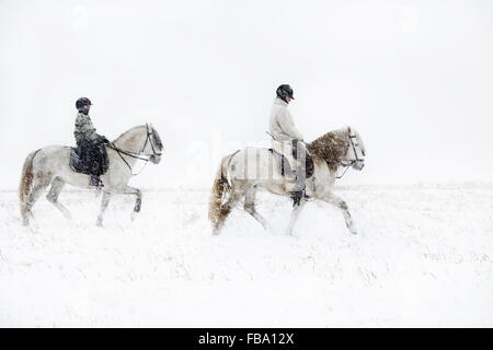 La Suède, Teenage girl (14-15) riding horse avec la mère Banque D'Images