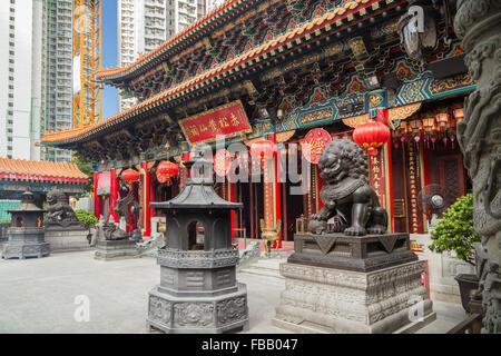 L'extérieur de l'ornate Sik Sik Yuen Wong Tai Sin Temple à Hong Kong, Chine. Banque D'Images