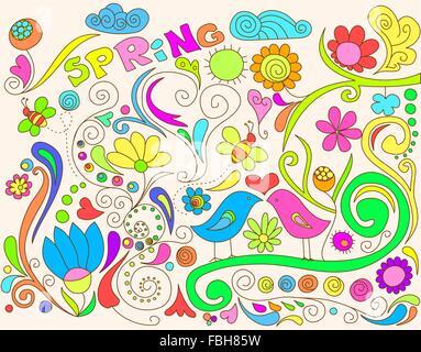 Printemps coloré doodle avec oiseaux et fleurs. Banque D'Images