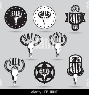 Grosse vente jeu de tags avec conception occidentale et bull skull Banque D'Images