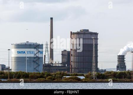 TATA Steel works, usine de Port Talbot, Pays de Galles, Royaume-Uni. L'entreprise indienne va couper 750 emplois à son usine de Port Talbot au Pays de Galles