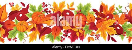 Arrière-plan transparent horizontal avec les citrouilles et les feuilles aux couleurs automnales. Vector illustration. Banque D'Images