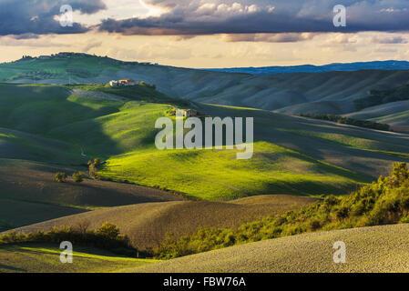 Champ d'automne ensoleillé fantastique en Italie, Toscane paysage. Banque D'Images