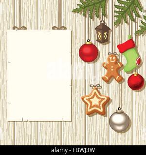 La pendaison de Noël décorations et une plaque sur un fond de bois. Vector illustration. Banque D'Images