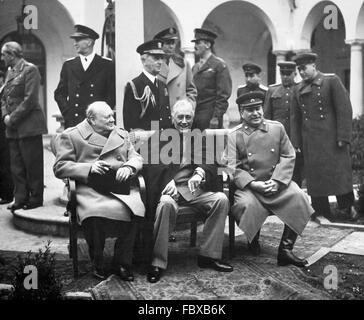 Conférence de Yalta, en février 1945. Le Premier ministre britannique, Winston Churchill, président américain Franklin Banque D'Images