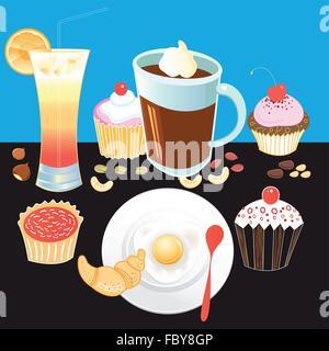 Belle illustration vecteur touristique petit-déjeuner savoureux café, pâtisseries, d'œufs brouillés, croissant, Banque D'Images