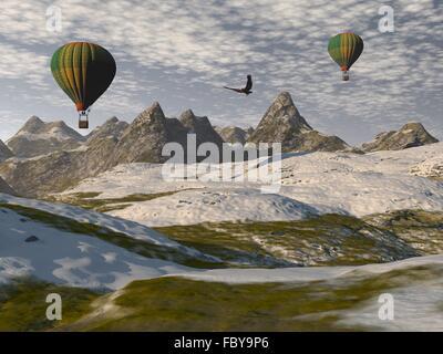 Deux ballons à air Banque D'Images