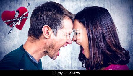 Image composite de couple tout en hurlant tête à tête permanent Banque D'Images