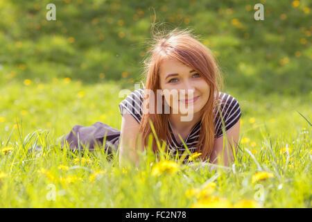 fille cheveux roux Banque D'Images