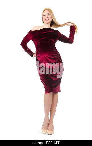 Jolie femme enceinte en robe rouge isolé sur fond blanc Banque D'Images