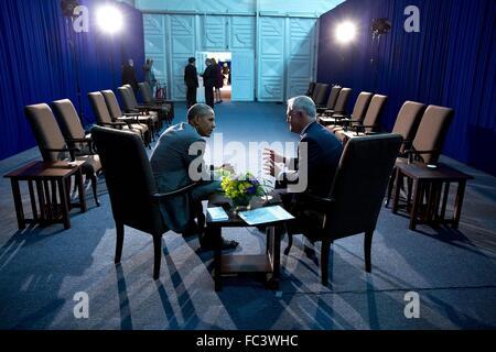 Président américain Barack Obama rencontre le Premier Ministre australien, Malcolm Turnbull, en marge du sommet Banque D'Images