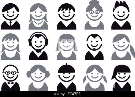 Les gens icônes, avatar, utilisateur, character design, vector set Banque D'Images