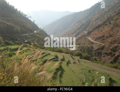 Gamri Chhu rivière qui traverse la vallée de Trashigang passé collines de champs de riz en terrasses, l'Est du Bhoutan, Banque D'Images