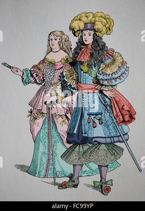 Le roi Louis XIV de France (1638-1715), savoir le Roi Soleil. Maison de Bourbon. La monarchie absolue. La gravure. Banque D'Images
