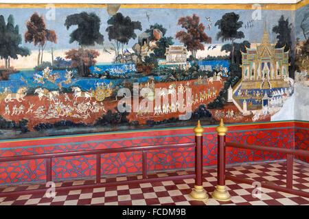 À partir de la fresque épique Ramayana, murale, Pagode d'argent, du Palais Royal, Phnom Penh, Cambodge Banque D'Images