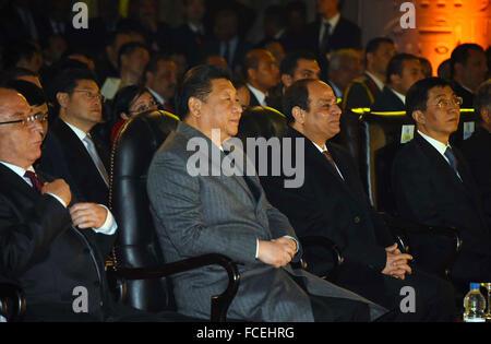 Louxor, Le Caire, Égypte. 21 Jan, 2016. Le président Abdel Fattah al-Sisi et le président chinois Xi Jinping assister Banque D'Images