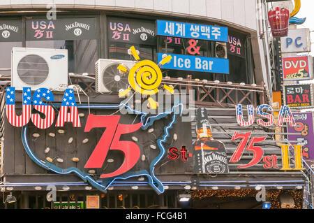 Bar de l'Ouest, signes, Jong-ro, Séoul, Corée du Sud Banque D'Images
