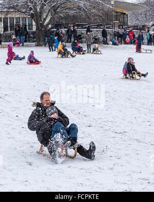 Le père et l'enfant de la luge sur une pente enneigée dans un parc public en hiver, Berlin, Mitte, Volkspark suis Banque D'Images