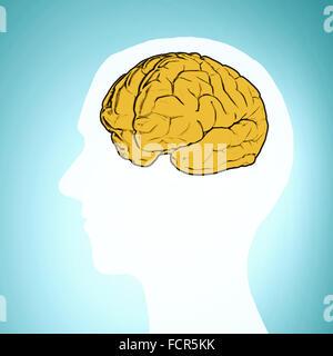 Silhouette d'une tête de l'homme et l'illustration du cerveau Banque D'Images
