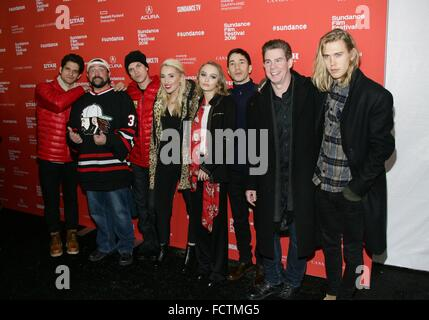 Park City, Utah, USA. 24 Jan, 2016. Tyler Posey, Kevin Smith, Jason Mewes, Harley Quinn Smith, Lily-Rose Depp, Justin Banque D'Images