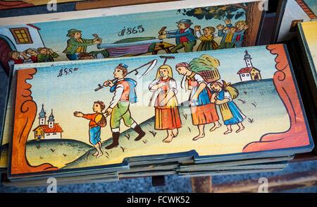 Panneaux de ruche, la Slovénie. Des copies de ces originaux sont un élément de souvenirs populaires avec les visiteurs. Banque D'Images