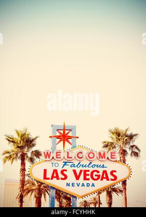 Stylisé rétro Bienvenue à Las Vegas sign with copy space.