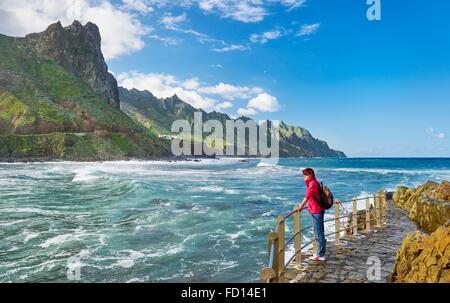 L'almaciga, Côte Taganana, Tenerife, Canaries, Espagne Banque D'Images