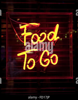 Food To Go neon sign Banque D'Images