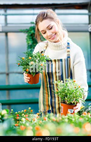 Jolie jeune femme contenu jardinier dans chandail rayé blanc et tablier en prenant soin des petits arbres en pots Banque D'Images