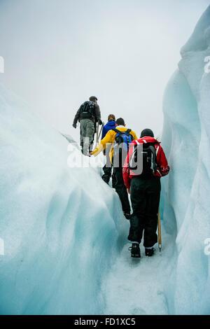Glacier Franz Josef, Nouvelle-Zélande. Groupe de touristes faire leur chemin à travers le glacier. Banque D'Images