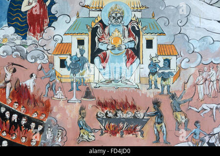 Mandala de l'Univers. Le bain L'enfer. Congrégation Dashang Kagyu Ling. Temple des mille bouddhas. Banque D'Images