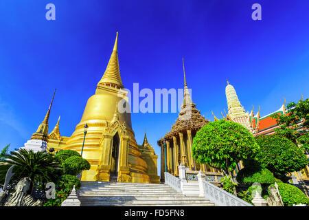 Bangkok, Thaïlande. Wat Phra Kaew - le Temple de Bouddha d'Emeraude Banque D'Images