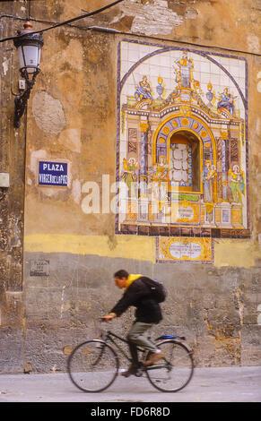 Plaza Virgen de la Paz,Carmen trimestre, Valencia, Espagne Banque D'Images