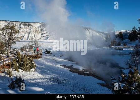Les touristes profiter de la vue de la terrasse de l'hiver à Mammoth Hot Springs. Le Parc National de Yellowstone, Banque D'Images