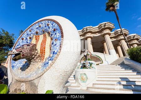 Barcelone, Parc Guell d'Antoni Gaudi Banque D'Images