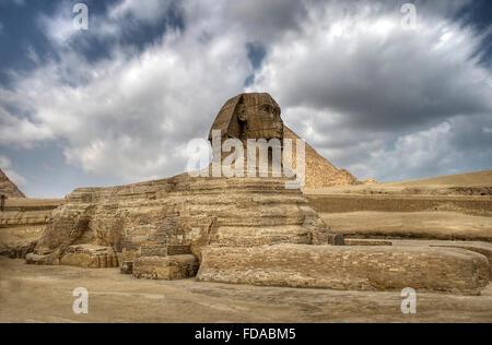 Le Sphinx garde les pyramides à Gizeh le plateu au Caire, Égypte. Banque D'Images