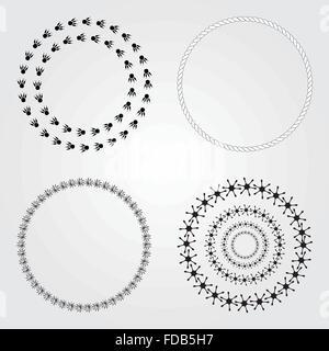 Ronde Collection cadres décoratifs et des étiquettes. Banque D'Images