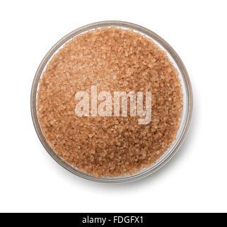 Vue de dessus du bol de sucre de canne isolated on white Banque D'Images