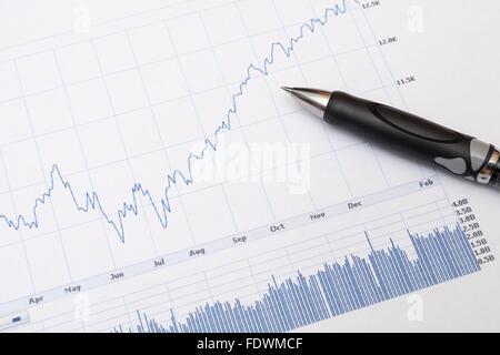 Marché financier ou l'économie ligne graphique graphique et crayon modèle libération: N° des biens: Non. Banque D'Images