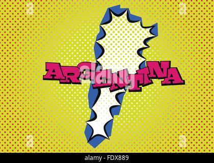 Carte de l'Argentine dans le style pop art, de la soie et des points d'impression lettrage spécial. Banque D'Images