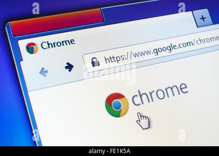 GDANSK, POLOGNE - Le 10 septembre 2015. Google Chrome Page d'accueil sur l'écran d'ordinateur. Utilisez uniquement Banque D'Images