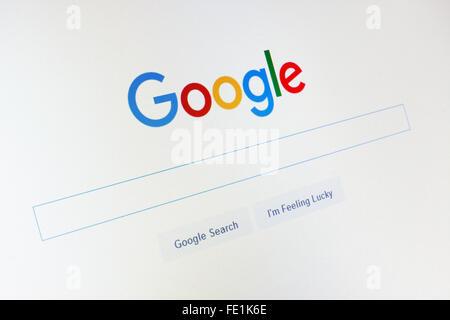GDANSK, POLOGNE - Le 14 novembre 2015. Page d'accueil de Google.com et le curseur à l'écran. Utilisez uniquement Banque D'Images