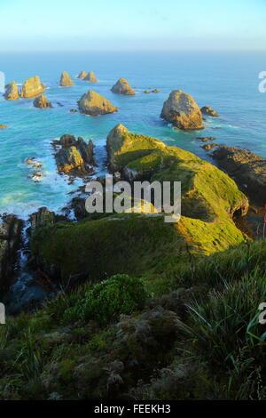 """Certaines des nombreuses """"pépites"""" à Nugget Point Phare sur la côte Catlins de Nouvelle-Zélande. Banque D'Images"""