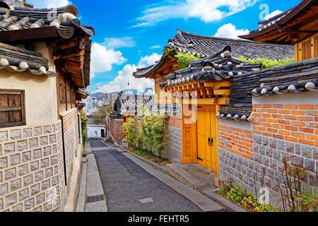 Quartier historique de Bukchon Hanok à Séoul , Corée du Sud Banque D'Images