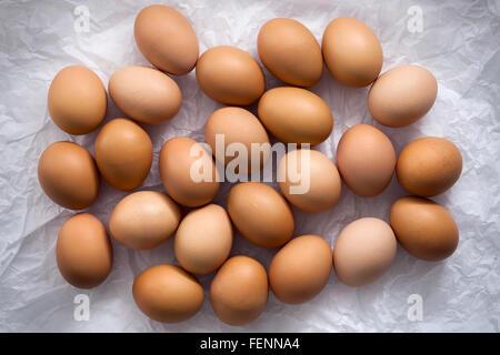 Les oeufs de poule télévision lay still life avec des aliments frais élégant matière première la volaille protéines Banque D'Images