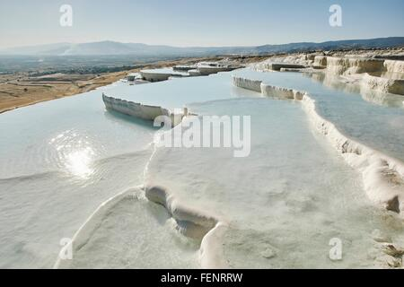 White Hot spring terrasses, Pamukkale, Anatolie, Turquie Banque D'Images