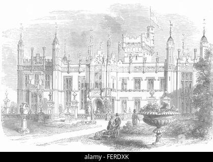 KNEBWORTH Le siège du feu Lord Lytton. 1873 Hertfordshire. Illustrated London News