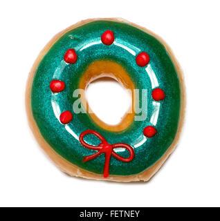 Noël vert isolé donut avec bow over white Banque D'Images
