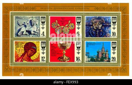 Un timbre imprimé en URSS image montre des chefs-d'ancienne culture russe, vers 1977. Banque D'Images