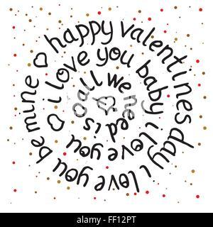 Valentines day tour le lettrage sur fond de points. Vector illustration. Tous nous avons besoin est l'amour. Je t'aime bébé. Happy valentines